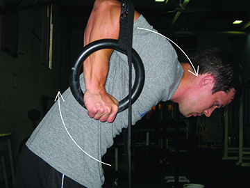 Image 5 Pull the rings back. Push the head and shoulders forward. Forearms perpendicular to the ground.
